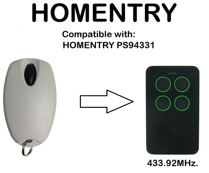 HOMENTRY PS94331 Compatible Remote Control 433.92MHz.HOMENTRY PS94331 Compatible Remote Control 433.92MHz.