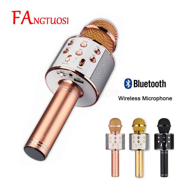 Bezprzewodowy mikrofon Bluetooth WS-858 Handheld karaoke MIC USB KTV Player głośnik Bluetooth Record Music mikrofony WS858 tanie tanio Jednokierunkowy mikrofon do karaoke Wyciąg FANGTUOSI Mikrofon ręczny Mikrofon pojemnościowy Pojedynczy mikrofon