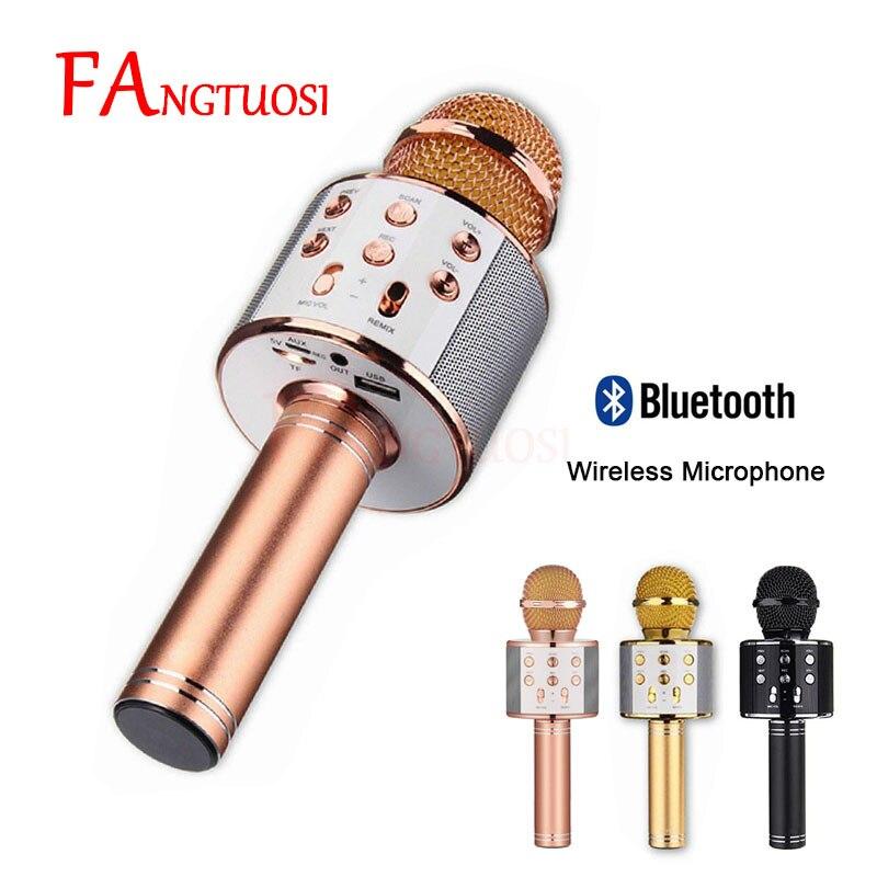 Inalámbrica Bluetooth micrófono WS-858 de Karaoke micrófono USB KTV Player Bluetooth altavoz grabar música micrófonos WS858