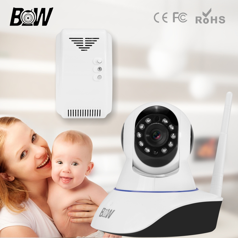 BW IP Wireless Wifi Camera HD 720P Night Vision Camcorder Video Recorder Home CCTV P/T IR Cut Filter Megapixel Lens Gas Detector