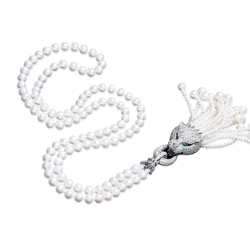 Jade ange simulé collier de chandail de perle de coquille avec des glands pavé de zircon cubique charme pendentif léopard mode femmes collier