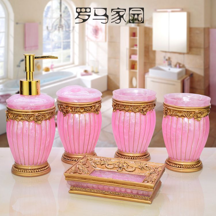 Pink Fashion Bathroom Accessories Ceramic Bathroom Set Lotion Bottle Toothbrush Holder Soap Box Trays Bathroom Accessories image