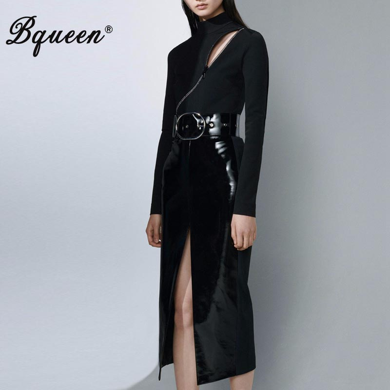 Bqueen 2019 Sexy Bodycon Solid Turtleneck Zipper Hollow Out Women Bodysuit And PU Skirts With Belt