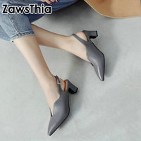 ZawsThia V cut design sexy woman square high heeled pumps ladies summer shoes with buckle strap slingback sandals for women