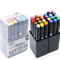 24 色アートマーカーセットデュアルヘッドスケッチマーカーブラシペンドローマンガアート用品