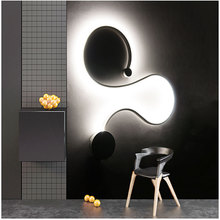 LukLoy Simple Curve light Creative Vintage Personality Surface Mounted Modern LED Home Deco Living Room Irregular Wall Lamp