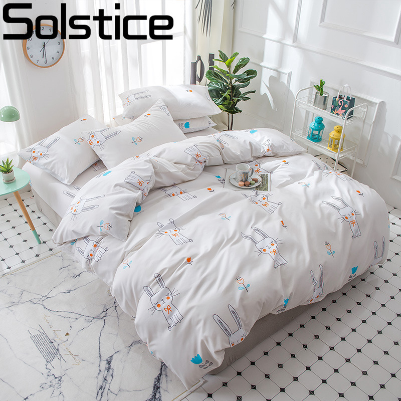 Solstice Pillowcase Simple Bedding-Sets Duvet-Cover Bed-Sheet Linens Home-Textile Girl