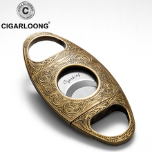 Cigarloong Classic carved cigar knife Stainless Steel Metal Cigar Cutter Scissors gold Blade guillotine cutter  CD-1096