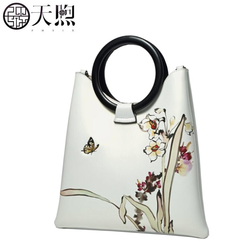 TMSIX 2018 New women leather bags Cowhide tote women bag Embroidery fashion designer handbags leather shoulder Crossbody bag 100% genuine leather handbags first layer of cowhide crossbody bags female designer shoulder tote bag leisure women shoulder bag