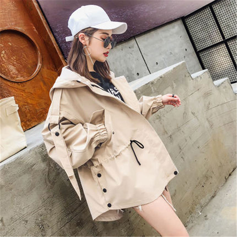 2019 NEW Spring Autumn Short   Trench   Coats Women Causal Hooded Outerwear Girls Tops X514