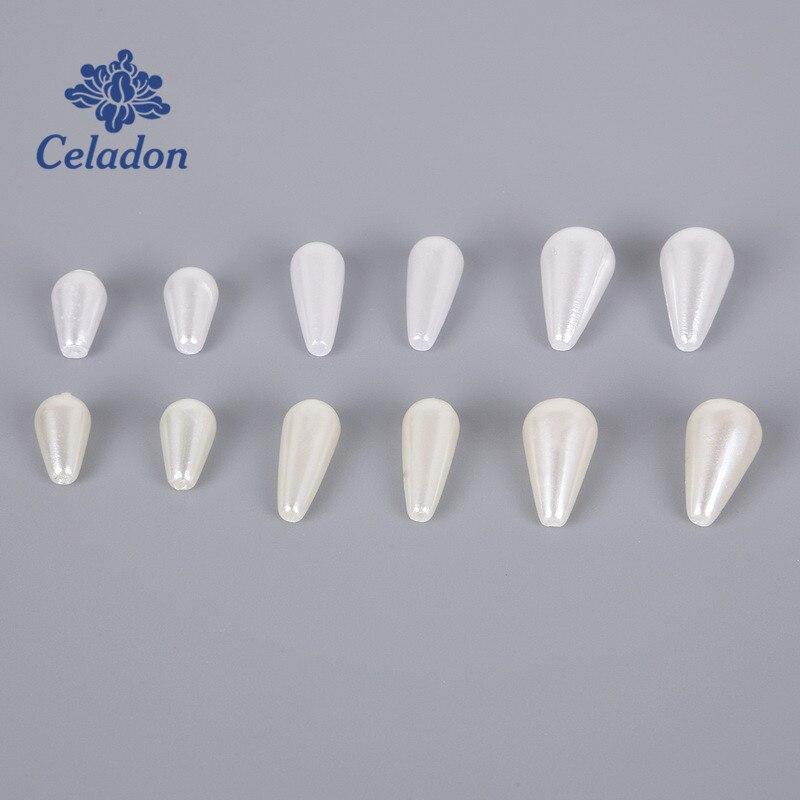 50-100 peças marfim branco imitação pérola grânulos lágrima gota abs plástico solto espaçador grânulos para joias descobertas fazendo