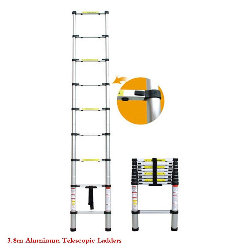 3.8m Thickening alloy aluminum Telescopic Ladders Portable Retractable Ladder herringbone stair multifunctional folding ladder