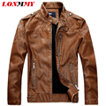 LONMMY M-2XL Slim fit leather jacket men Plaid Suede Velvet Faux PU Stand Collar Casual 2016 mens leather jackets and coats