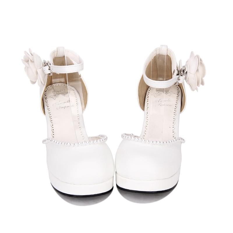 Haute Angélique Robe Partie Cosplay Talons Femme Mori Princesse Femmes Pompes Chaussures 33 Noir Perle white Lady Lolita 47 Fleurs Empreinte Fille r86Ofrq