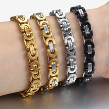 18f676fffaa5 Davieslee bizantino pulsera de cadena para hombres oro plata negro de acero  inoxidable para hombre pulseras