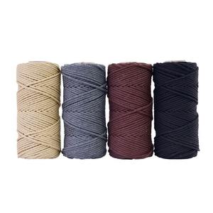 Image 4 - 4mm x 100m 100% cabo de algodão corda colorida bege trançado artesanato macrame corda diy casamento casa têxtil fonte decorativa