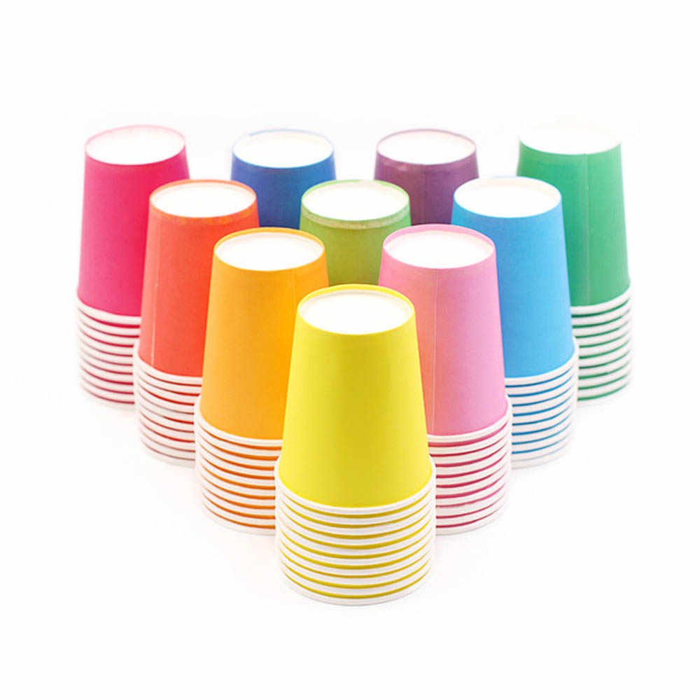 10pcs Pure Colour Party Disposable Paper Cups Juice Cup DIY Decoration Baby Shower Kids Birthday Wedding Picnic Tableware Supply
