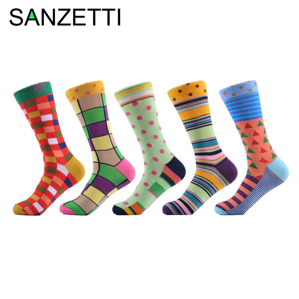SANZETTI 5 Pair Men's Colorful Mens Socks Striped Brand Cotton Winter Socks Chaussette Homme Calcetines Hombre Sport Men Socks