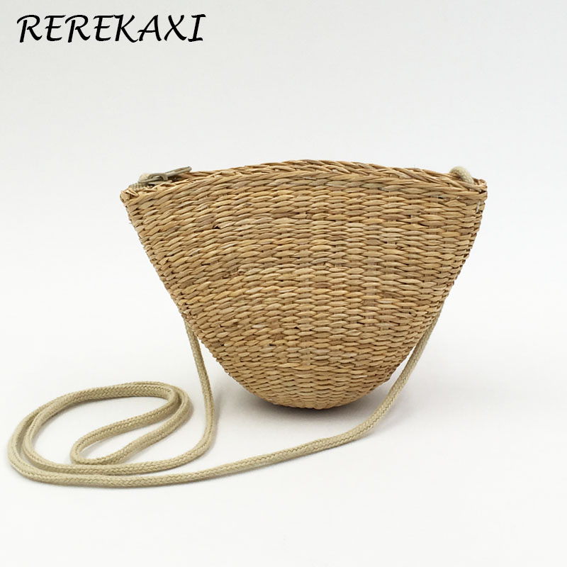 <font><b>REREKAXI</b></font> Rattan grass small ladies can be fitted with mobile keys purse cute grass women bag bolso borsetta portmonetka image
