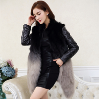 Women's Real Fur Coat Fox Fur Genuine Leather Removable Sleeve Natural Fur Coat gl0001