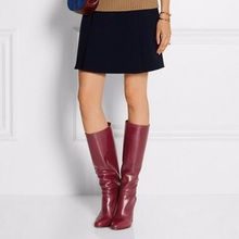 hot deal buy retro red knee high boots round toe square heel long boots high quality women shoes hand made spike heel women winter boots new