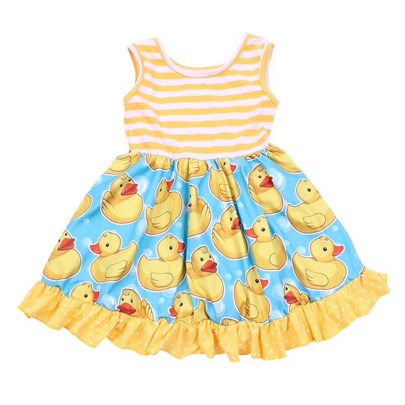 Desenhos animados amarelo pato impresso vestido da