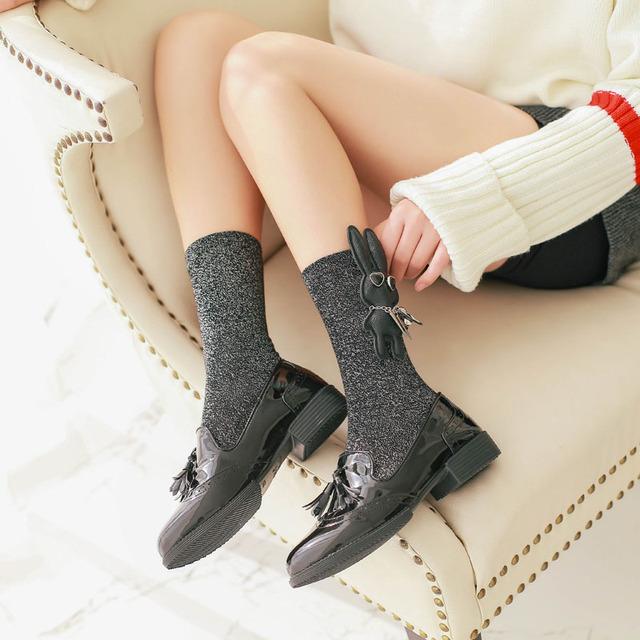 Women's Funny Rabbit 3d Harajuku Long Glitter Socks