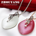 Top Quality 3D Leopard Coat Chain  Rose Gold Pated Pendant Necklace Jewelry Semi-Precious Stone Wholesale  ZYM035 ZYM036