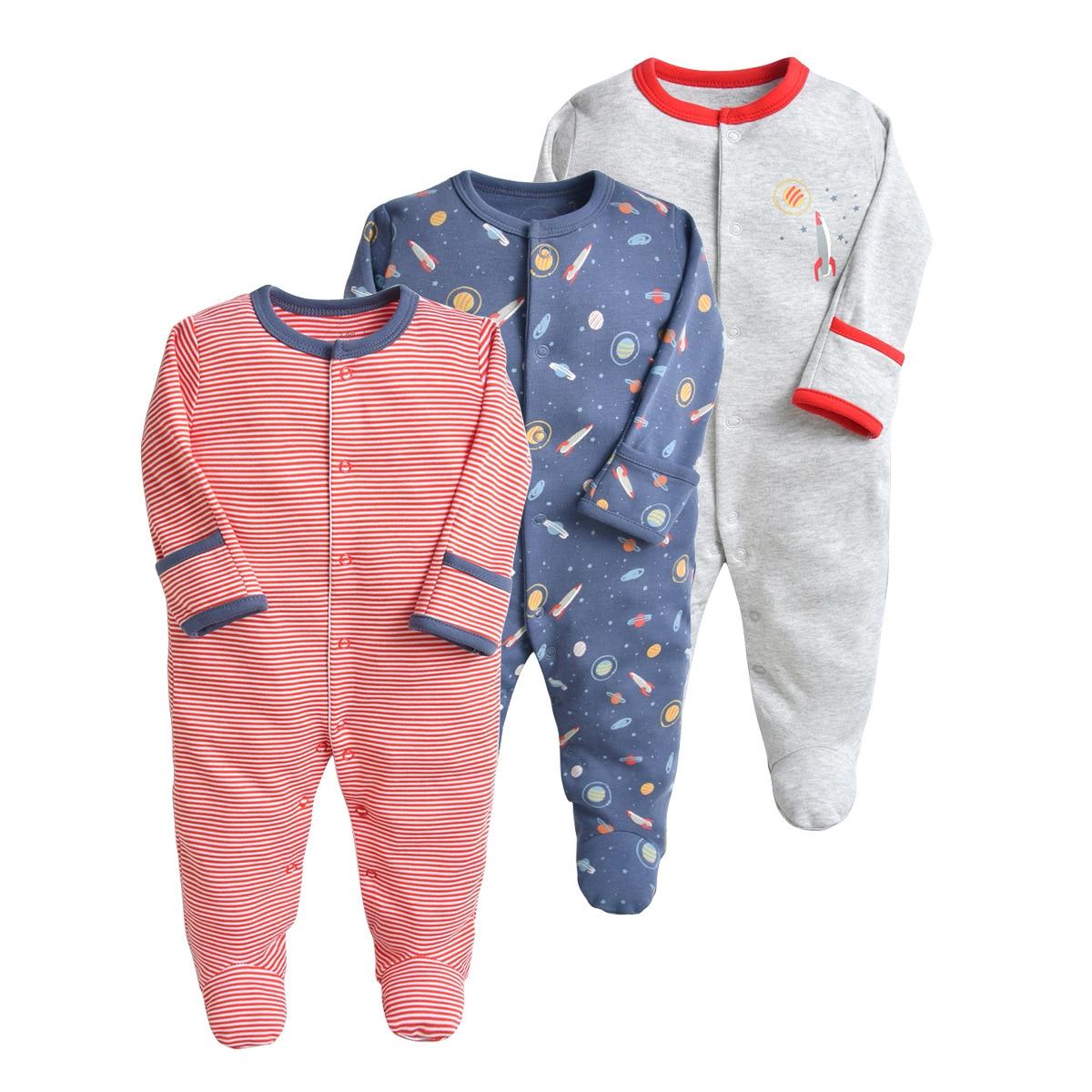 Novo nascido roupas de bebê 2019 moda roupas de bebê menino meninos roupas roupas de cor sólida listras três peças terno do bebê macacão
