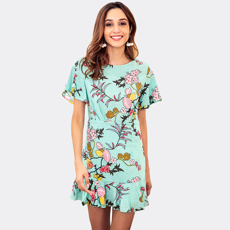 Summer Dress Women Elegant Floral Print Bohemian Beach