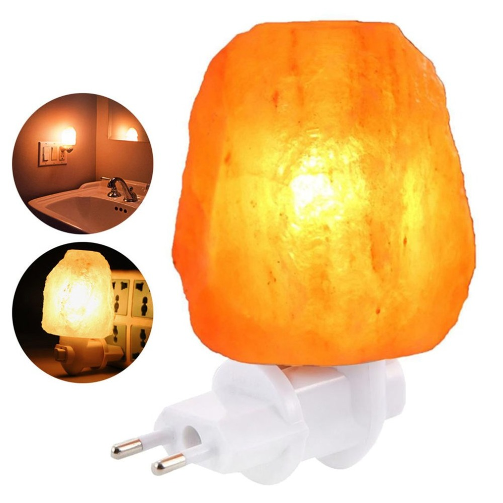 Himalayan Salt Lamp Hand Carved Natural Salt Rock ETL Wall EU/US Plug Night Light For Air Purifying Lightening Decoration
