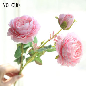 YO CHO Rose Artificial Flowers 3 Heads Pink White Peonies Silk Flower Wedding Garden Decoration Fake Flower Bouquet Peony Color(China)