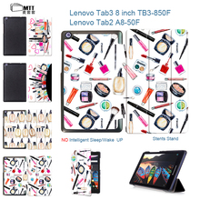 "MTT Tab 2 A8-50F Makeup Gouache Flip PU Leather Book case For Lenovo Tab 3 8 8.0 TB3-850F TB3-850M 8"" Tablet PC Stand Cover"
