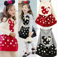 2015 Spring and autumnNew Children Girl's 2PC Sets Skirt Suit Minnie Mouse baby sets dots skirt dots pants kids