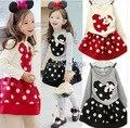 2015 primavera e autumnNew crianças Girl 's 2 PC define Skirt Suit Minnie Mouse bebê conjuntos dots calças saia pontos crianças