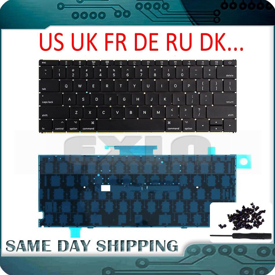 NEW A1534 Keyboard US UK English w Backlit French German Russian Danish Italian for MacBook Retina