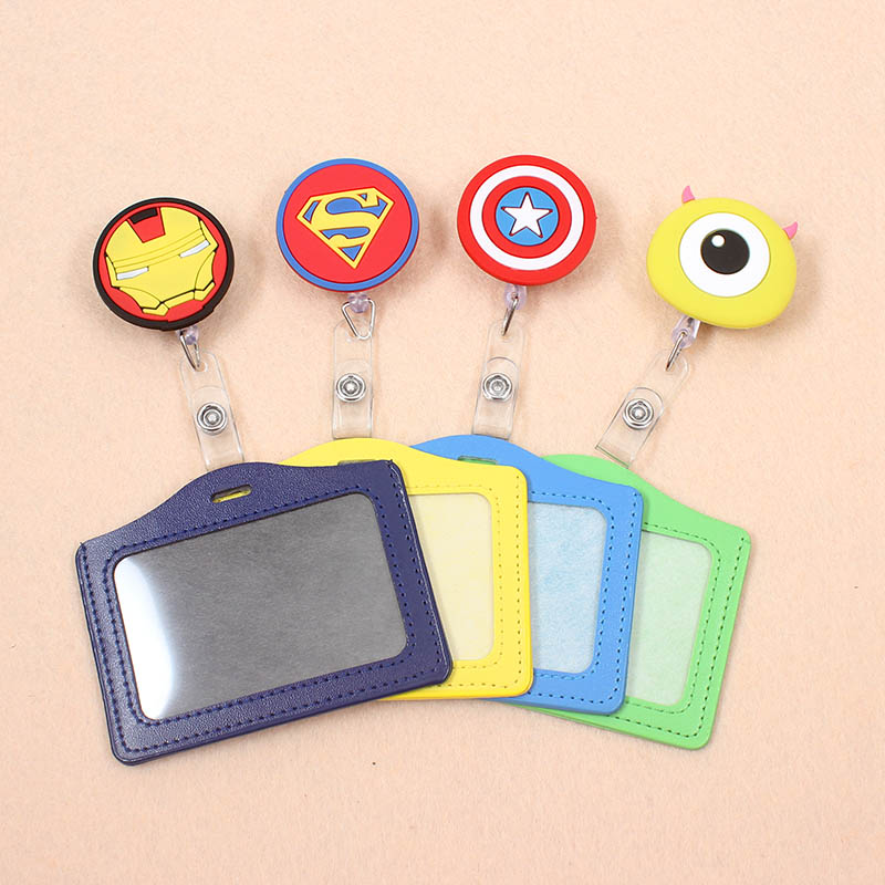 Cartoon Super Hero Superman Retractable Badge Reel Silicone Student Nurse Exihibiton ID Name Card Badge Holder Office Supplies