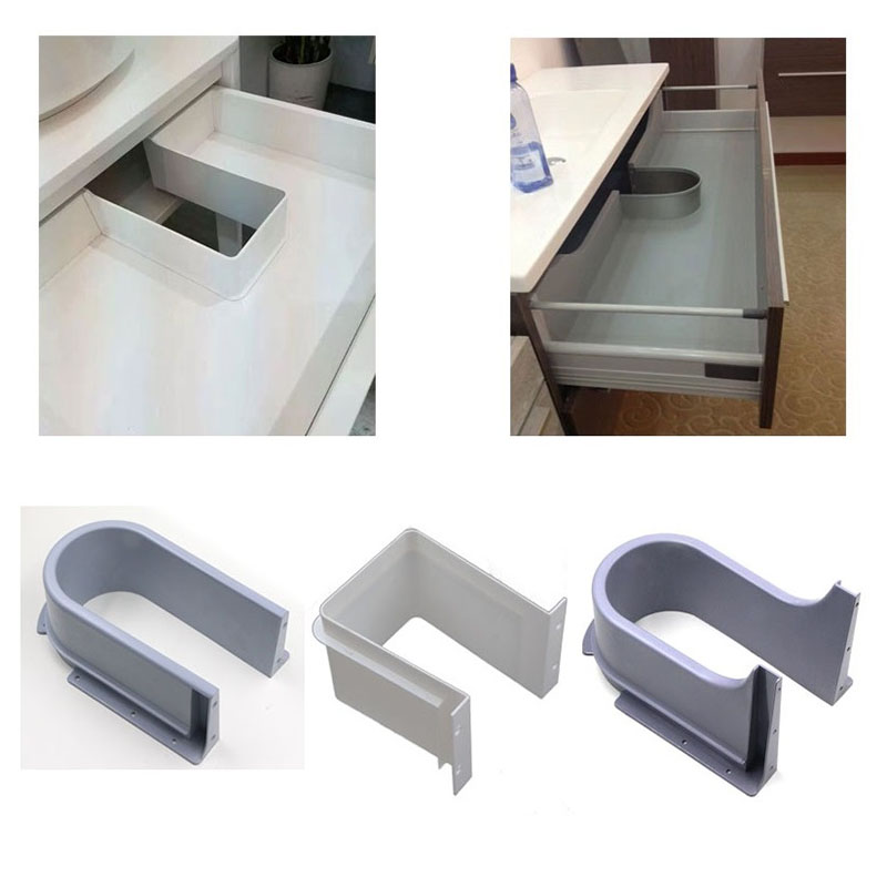 Plastic U Shape Sink Drawer Kitchen Bath Furniture Cabinet Recessed U Under Sink Drainage Grommet