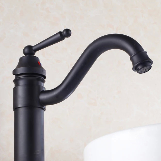 Basin Faucets Classic Black Antique Brass Bathroom Faucet Single Handle High Arch Swivel Spout Deck Sink Mixer Water Taps 6633R