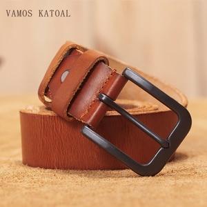 Image 1 - VAMOS KATOAL men belt cow genuine leather luxury strap male belts for men classic vintage pin buckle cowskin belt dropshipping