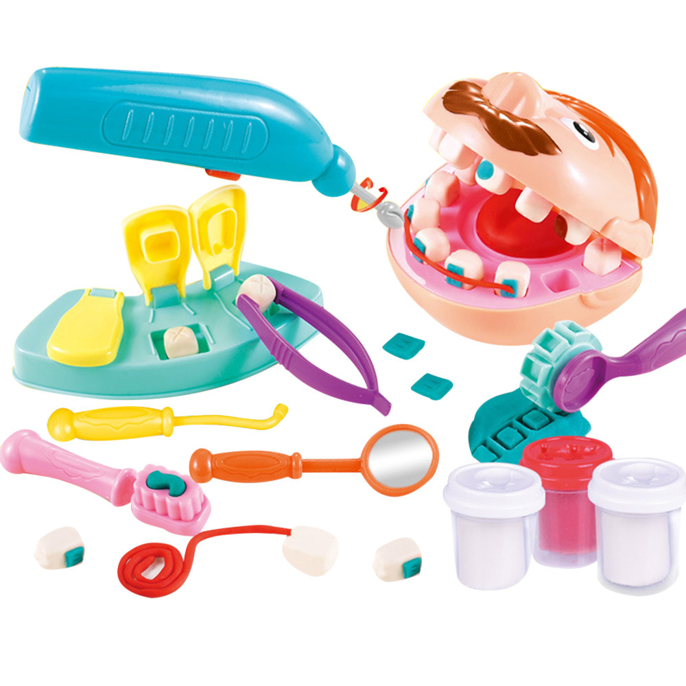 Kids Toy Doctor Set Cosplay Dentists Toys DIY Clay Plasticine Tools Baby Pretend Play Doctor Nurse Set Montessori Toys For Child