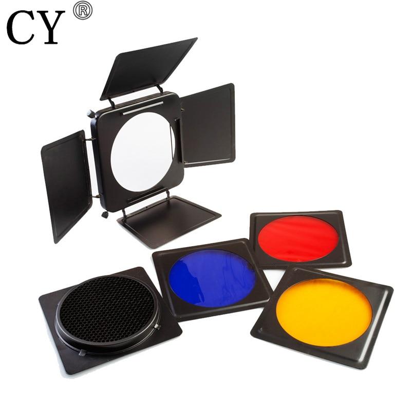 Professional Universal Photo Studio 6.5 16.5cm Barn Door & Honeycomb Grid & 4 Color Gel Set For Photo Studio Lighting