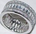 Tamanho 5-11 Moda de Luxo jóias Completa CZ Luxo 10kt branco gold filled GF das Mulheres Lady Anel de Noivado Wedding Band set presente