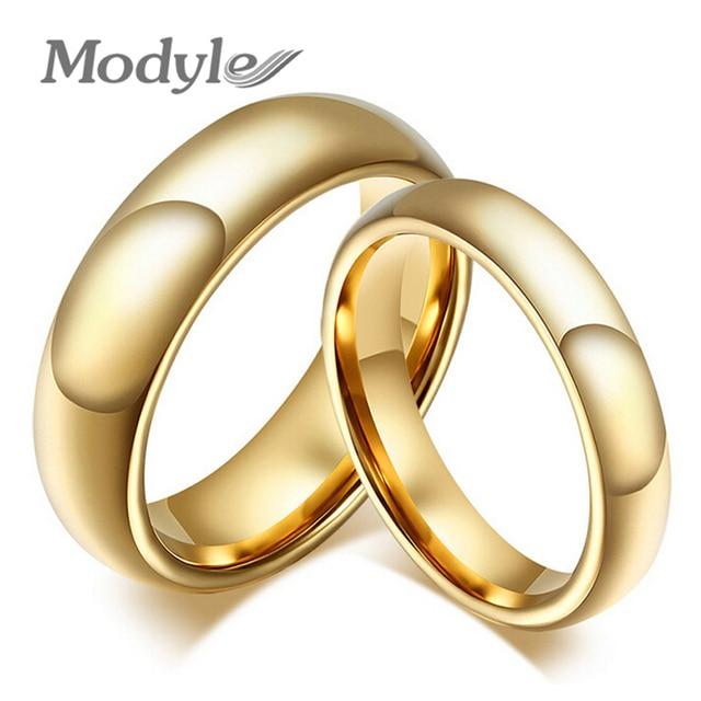 Modyle Moda 100% anéis de carboneto de tungstênio 4mm/6mm de largura Ouro-Cor anéis de casamento para as mulheres e homens jóias