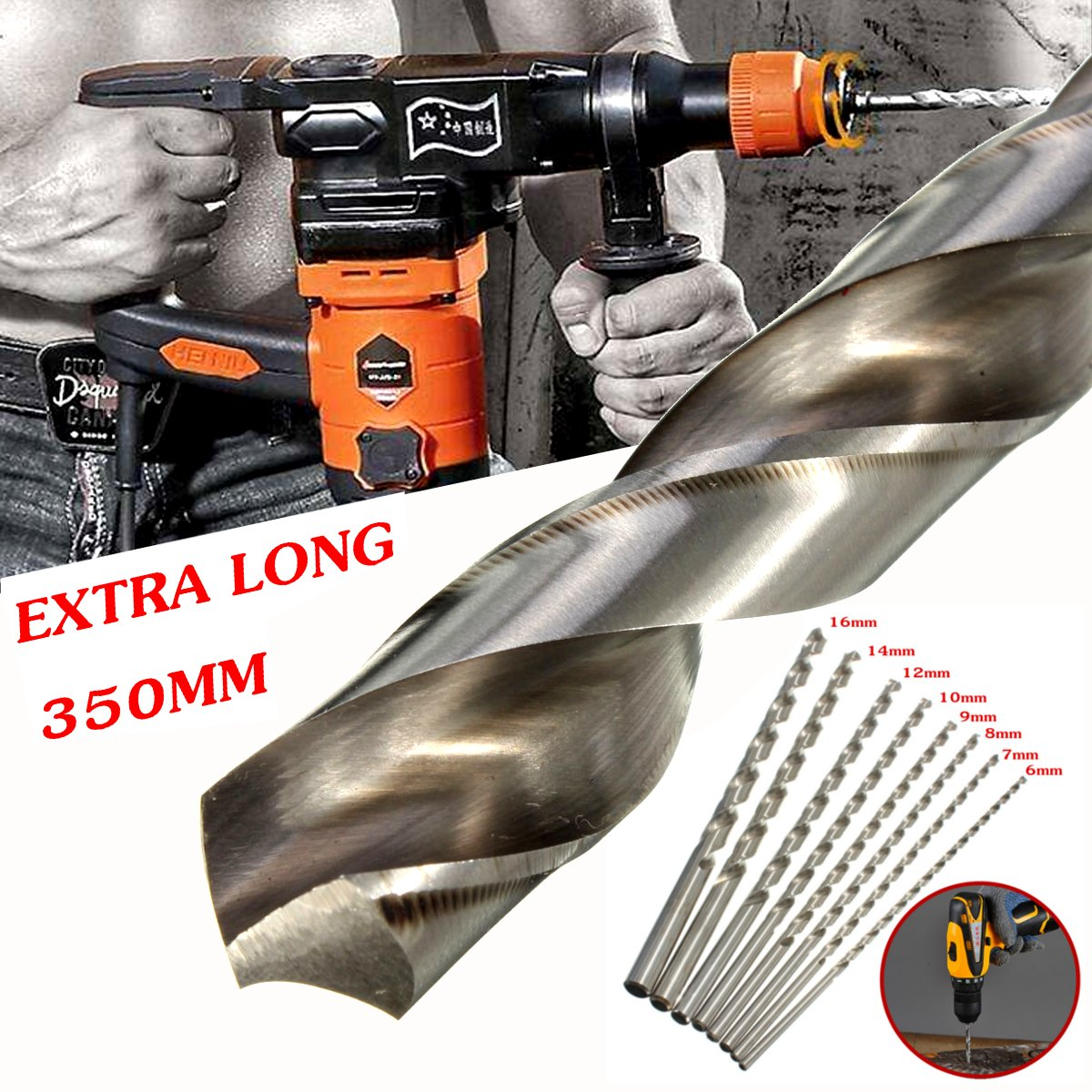 6-16mm Diameter Extra Long 350mm HSS Auger Twists Drill Bit Straight Shank Drill Bit For Plastic / Metal /Wood Drilling