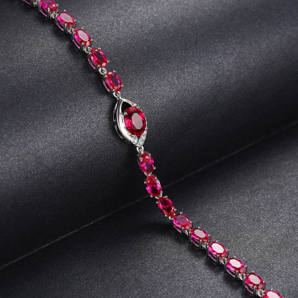 JewelryPalace Eye 10.8ct Created Red Ruby Link Bracelet 925 Sterling Silver qHZtNGK