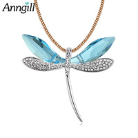 ANNGILL Fashion Choker Women Necklaces Original Crystals from Swarovsk Dragonfly Pendant Long Necklace Collares Friend Bijoux