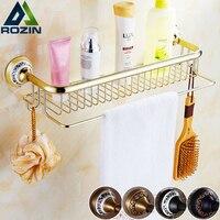 Wall Mounted Luxury Bathroom Kitchen Storage Shelf Brass Towel Bar With Hooks Antique Gold Bathroom Commodity