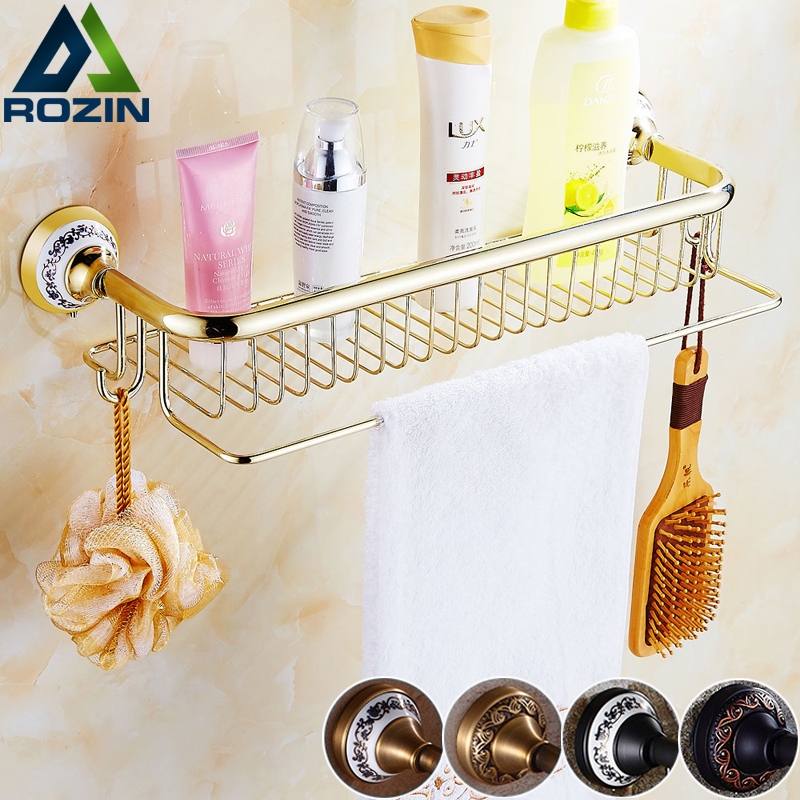 Wall Mounted Luxury Bathroom Kitchen Storage Shelf Brass Towel Bar with Hooks Antique Gold Bathroom Commodity Holder