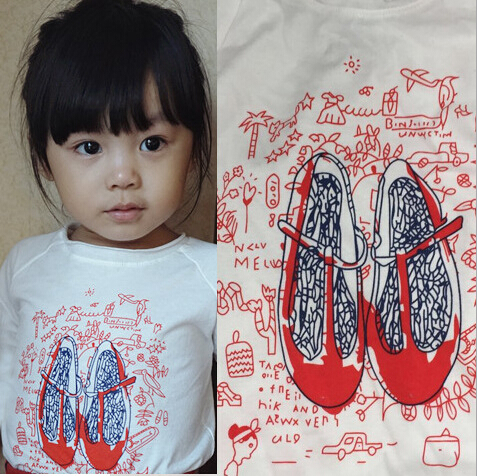 2016 fashion baby autumn long sleeve t-shirts kids red shoes print tees tops clothes girls blouse t-shirt